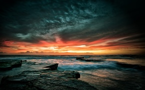 Picture sea, wave, the sky, sunset, stones, rocks