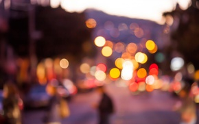 Picture the city, lights, people, street, the evening, bokeh, blurry lights