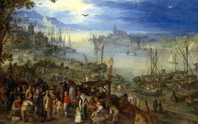 Picture landscape, people, picture, boats, Jan Brueghel the elder, Fish Market on the River