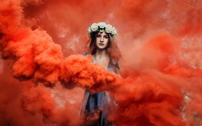 Picture girl, dress, wreath, Lisa, red smoke
