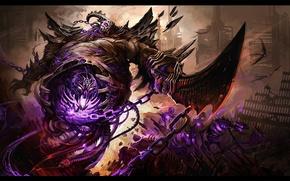 Picture undead, underworld, swords, skeletons, chains