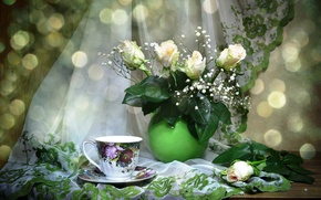 Picture flowers, Cup, tulle