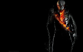 Wallpaper Ghost Rider, BACKGROUND, FIRE, BLACK, FLAME, CHAIN, GHOST RIDER, SKELETON