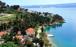 Picture sea, the city, coast, Croatia, Jadran, CENTRAL DALMATIA