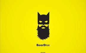 Picture batman, minimalism, yellow background, beardman, Maiman