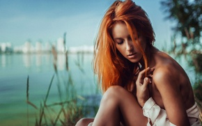 Picture nature, portrait, redhead, on the shore, George Chernyadev
