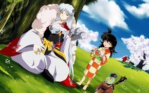 Picture anime, art, Rin, Inuyasha, Seshomaru, Inuyasha, Jacken
