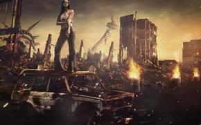 Wallpaper cigarette, America, woman, ruins, frame