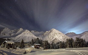 Picture winter, mountains, night, home