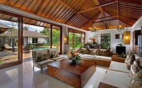 Wallpaper design, style, interior, pillow, pool, yard, sofas