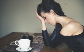 Picture girl, pose, Cup, photographer, sorry, Lukasz Derengowski