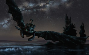 Picture sea, trees, flight, joy, night, mood, dragon, guy, art, how to train your dragon, toothless, ...