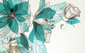 Picture line, flowers, abstraction, figure