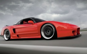 Picture clouds, race, tuning, track, red, tuning, honda nsx