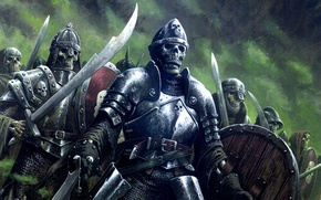 Picture fantasy, undead, armor, art, background, army, artwork, warriors, skeletons