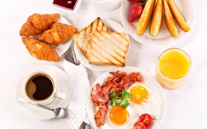 Picture coffee, Breakfast, cream, strawberry, juice, fruit, scrambled eggs, cup, jam, tray, bacon, coffee, toast, croissants, ...