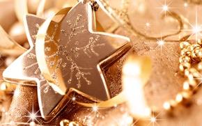 Wallpaper macro, holiday, star, Shine, new year, sequins, beads, new year, ribbon, Christmas toy