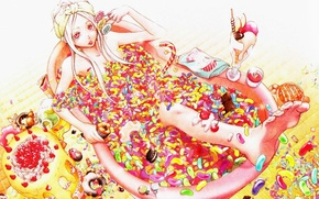 Wallpaper candy, bath, sweets, cake, lollipops, ice cream, cupcakes, sweet tooth