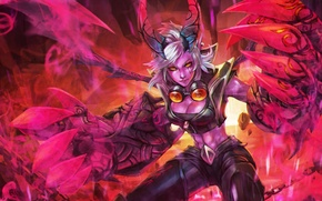 Picture girl, hands, lol, League of Legends, Piltover Enforcer, Demon Vi