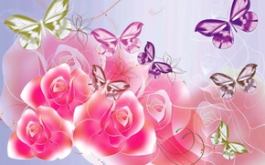 Picture butterfly, flowers, roses, vector