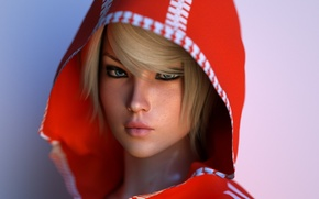Picture look, girl, rendering, blonde, hood