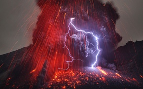 Picture the storm, ash, fire, element, lightning, smoke, the volcano, lava