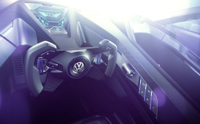 Picture Concept, interior, Volkswagen, the wheel, Golf, Golf, Volkswagen, Sport, dashboard, torpedo, GTE, 2015