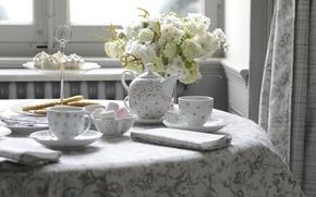 Picture flowers, tea, cakes, tradition, afternoon tea, послеобеденный чай