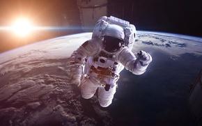 Picture space, astronauts, spacesuit