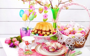 Picture basket, eggs, spring, Easter, Cup, tulips, cake, flowers, spring, eggs, easter