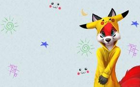 Picture anime, art, Fox, pokemon, suit, Scops owl, pajamas