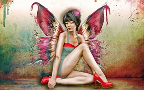 Picture girl, butterfly, wings, shoes, red
