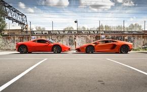 Picture orange, red, profile, red, lamborghini, ferrari, Ferrari, Italy, orange, 458 italia, aventador, lp700-4, Lamborghini, aventador, …