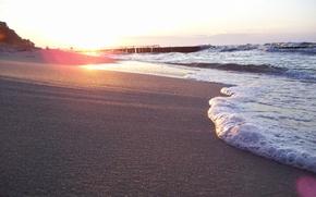 Wallpaper wave, light, nature, shore, beach, foam, sand, sea, summer, the sun