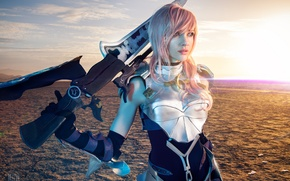 Picture girl, desert, warrior, Lightning, cosplay, Final Fantasy XIII-2, Lyz Brickley