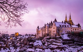 Picture winter, lake, castle, building, home, Switzerland, panorama, Switzerland, Lake Neuchatel, Neuchâtel, The Neuchatel Castle, Lake …
