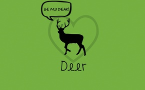 Picture love, green, deer, word game