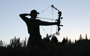 Picture sunset, man, shadows, archery, compound bow