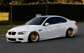 Picture bmw, BMW, turbo, white, wheels, tuning, power, front, face, germany, low, e92, stance