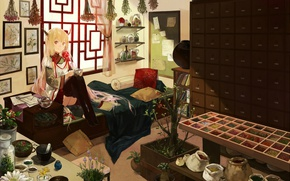 Picture flowers, room, plants, stockings, window, girl, pictures, dishes, wardrobe, grass, sitting, shelves, bags, spices, youkai, …