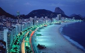 Wallpaper lights, the evening, beach, Rio de Janeiro