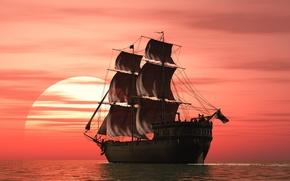 Picture landscape, sunset, rendering, the ocean, ship, sails