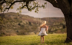 Picture girl, nature, swing