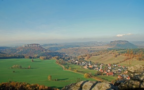 Picture field, the sky, trees, the city, mountain, home, Germany, valley