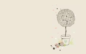 Wallpaper balls, flowers, vector, serdechki, minimalism, art, roses, flowerbed, grass, pot