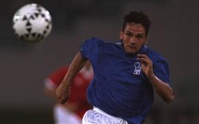 Picture Italy, outstanding, italia 1994, Roberto Baggio, The Divine Ponytail, attacking midfielder, Roberto Baggio, Italian footballer
