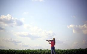Wallpaper field, girl, music, violin