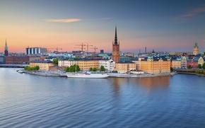 Wallpaper yacht, Stockholm, Stockholm, Riddarholmen, the island of Riddarholmen, Old town, Riddarfjarden Bay, Bay Riddarfjarden, Gamla ...