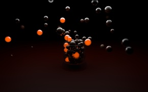 Wallpaper Black, Balls, Orange