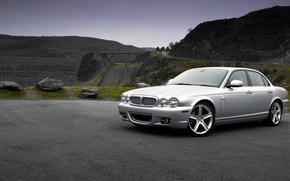 Picture white, mountains, Jaguar, Jaguar XJ